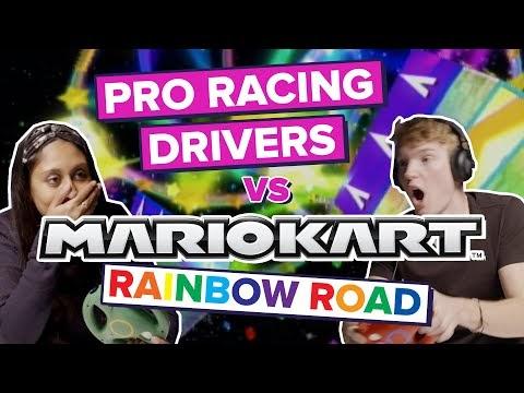 Pro Racing Drivers Play Mario Kart: Rainbow Road