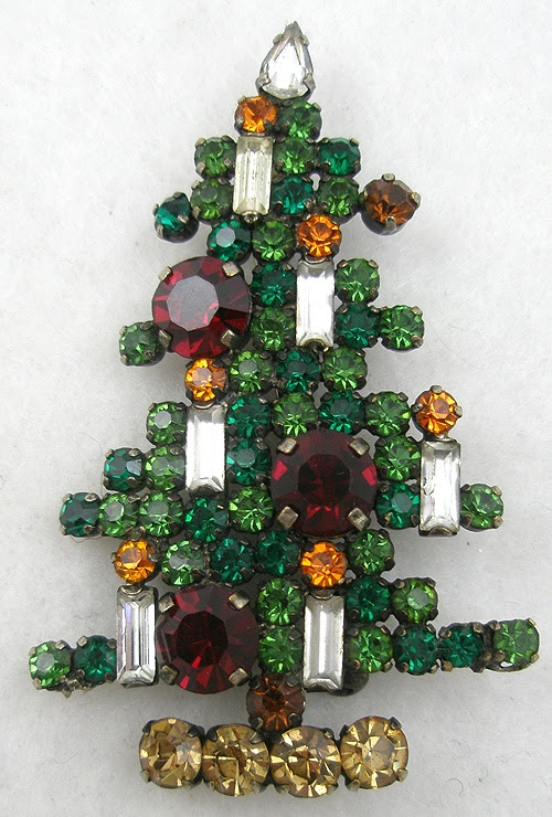 Austria 6 Candle Rhinestone Christmas Tree Brooch Garden Party