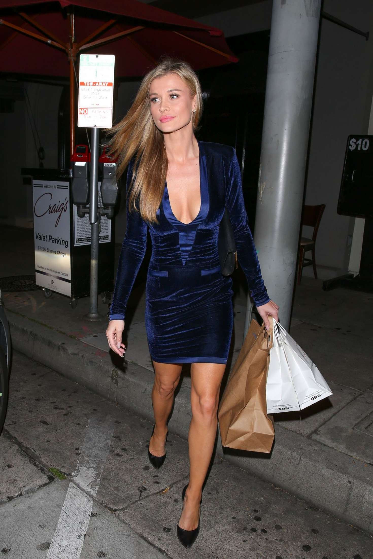 Joanna Krupa in Blue Dress at Craig's Restaurant in West Hollywood