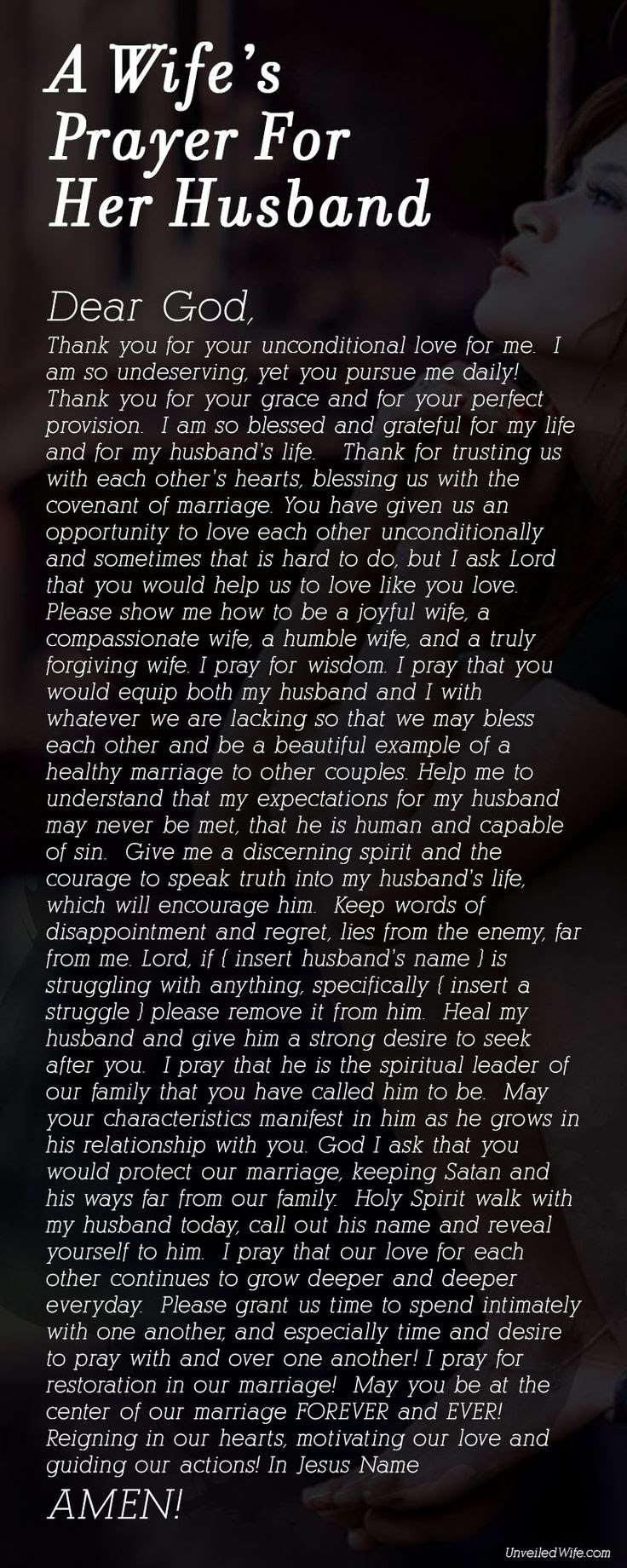 A Wife's Prayer For Her Husband - God I ask that you would protect our marriage, keeping Satan and his ways far from our family.