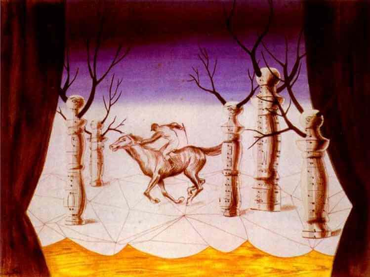 The Lost Jockey (Le jockey perdu) 1926 Collage by Rene Magritte