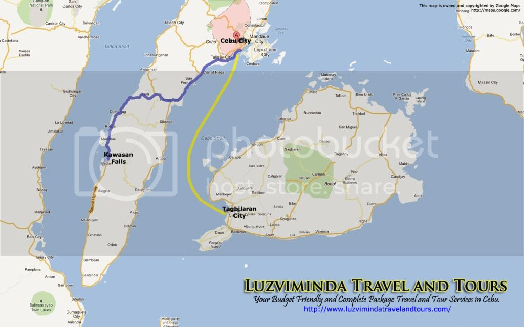 Cebu City + Kawasan Falls Nature Trek + Bohol Countryside Day Tour Itinerary Package Route