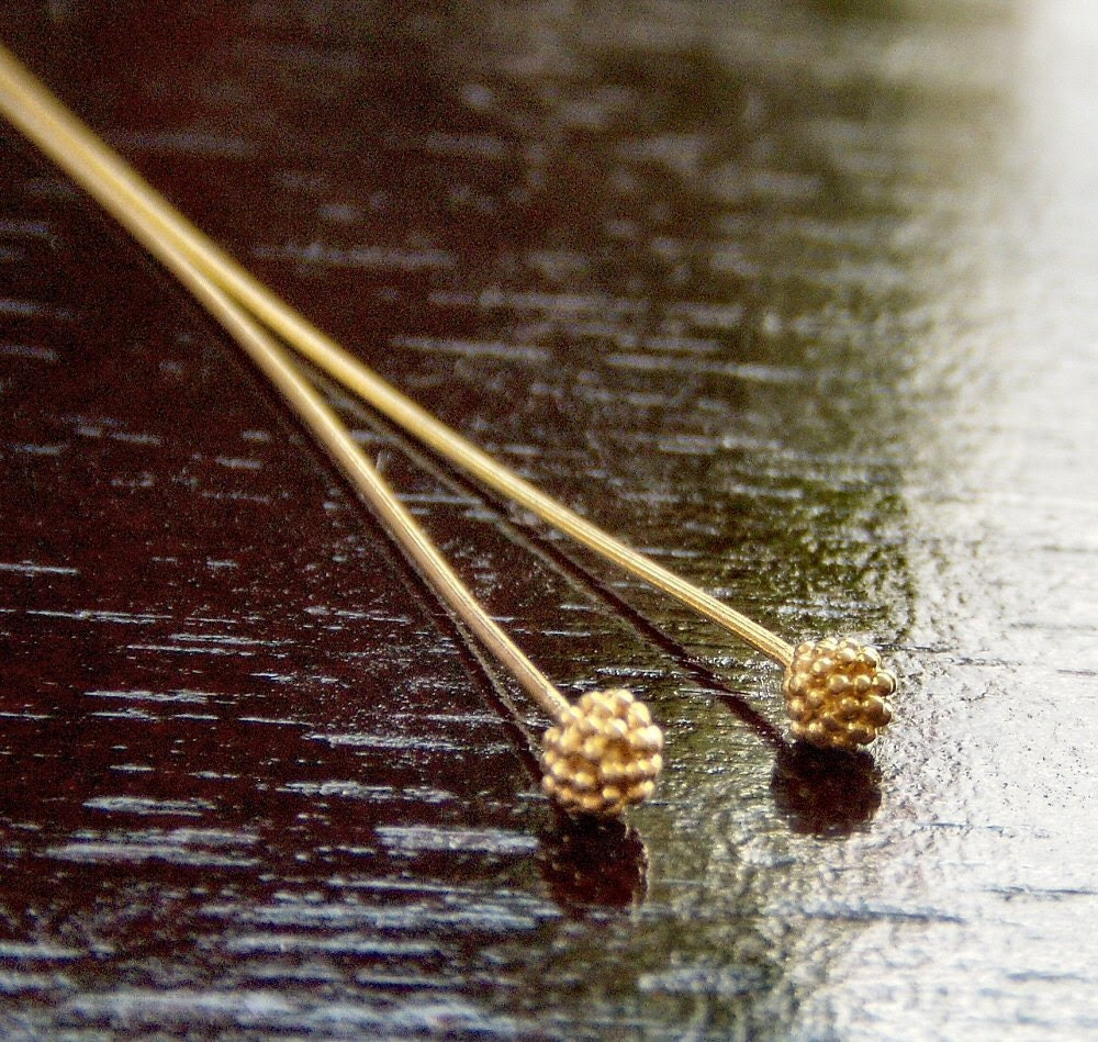 24g Vermeil 2.5 Inch Berry Headpin -  4 pc - BobbiThisnThat