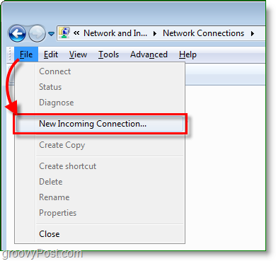 create a new incoming connection in windows 7