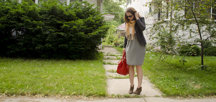 july outfits, how to wear suede ankle boots, summertime boots, business casual, summer layers, ootd, what to wear to work, dash dot dotty, style blog, j.crew brompton, bright red hobo
