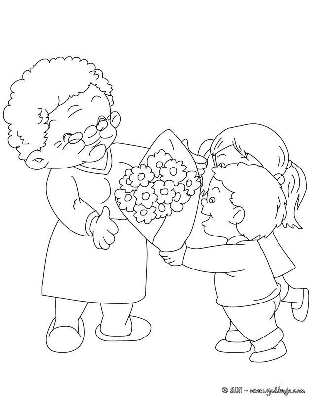 Dibujos Para Colorear Abuela Con Su Nieto Eshellokidscom