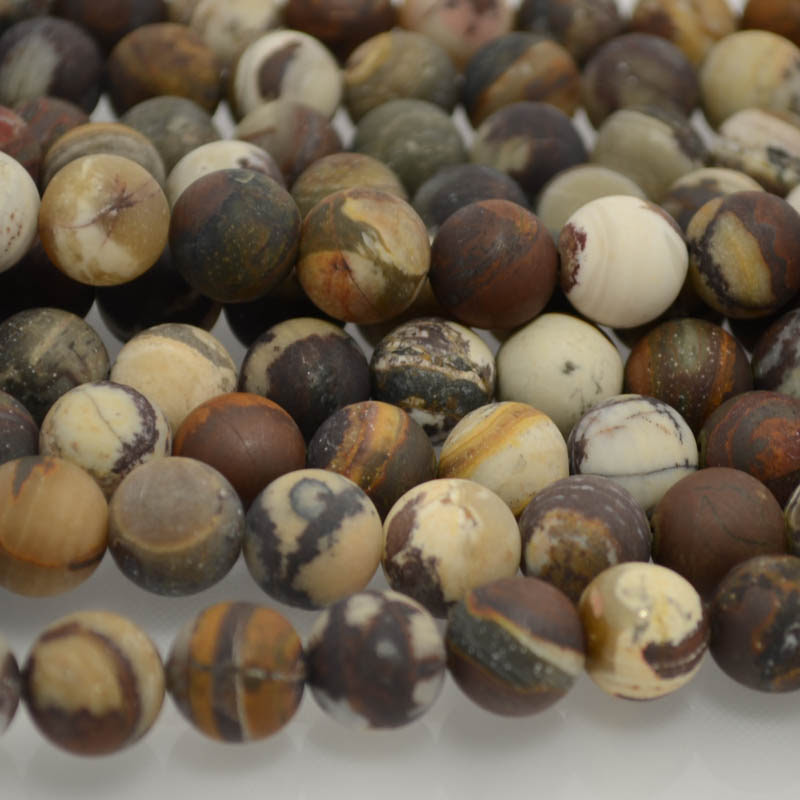s37251 Stone Beads - 10 mm Round - Matted Outback Wood Jasper (strand)