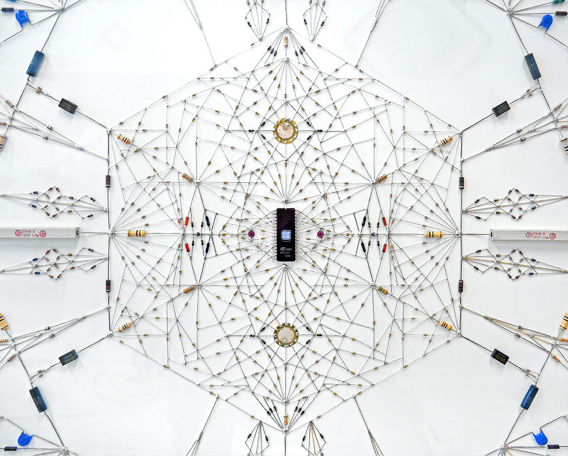 New Technological Mandalas and Wrapped Books Made from Soldered Computer and Radio Components technology sculpture mandala