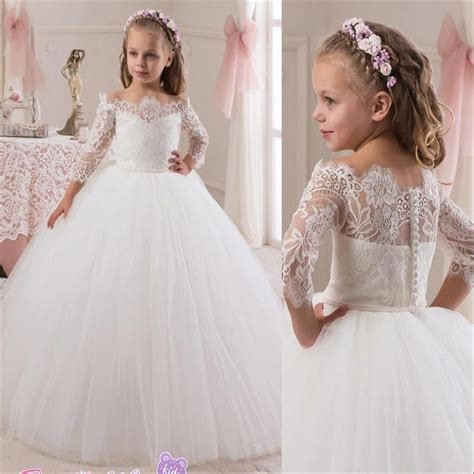 cheap princess white lace flower girls dress long