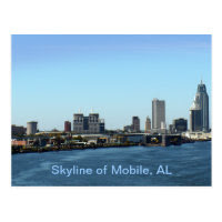 Skyline of Mobile, AL Postcard