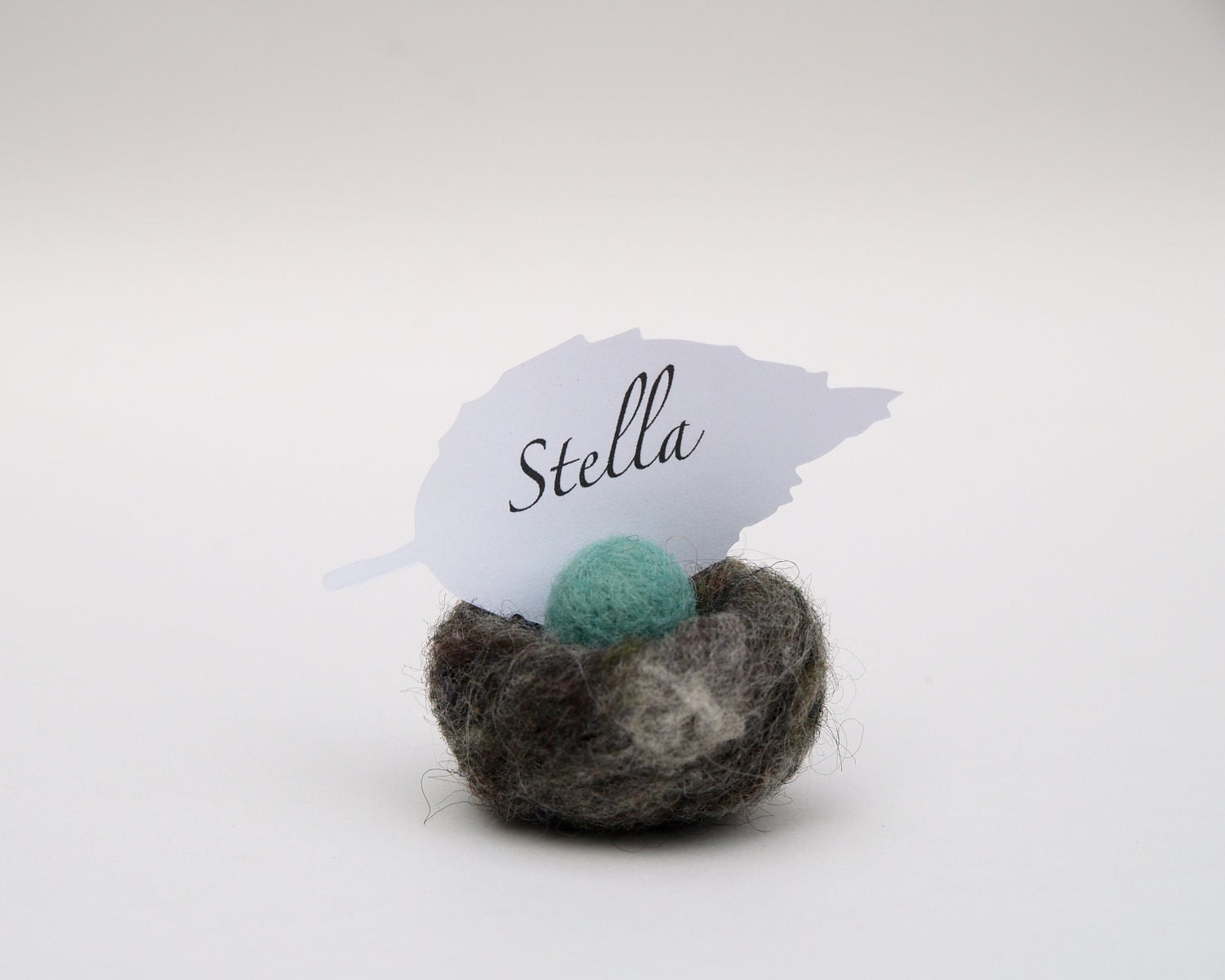 Woodland Nest Place Cards, Woolly Wedding Decoration, set of 5 turquoise robins blue egg in woolly nestteamt