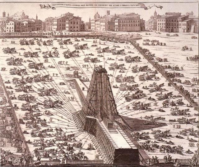 Erección del obelisco en la Plaza de San Pedro del Vaticano en 1586.