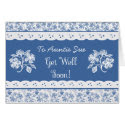 Custom Floral Faux Lace Get Well Card