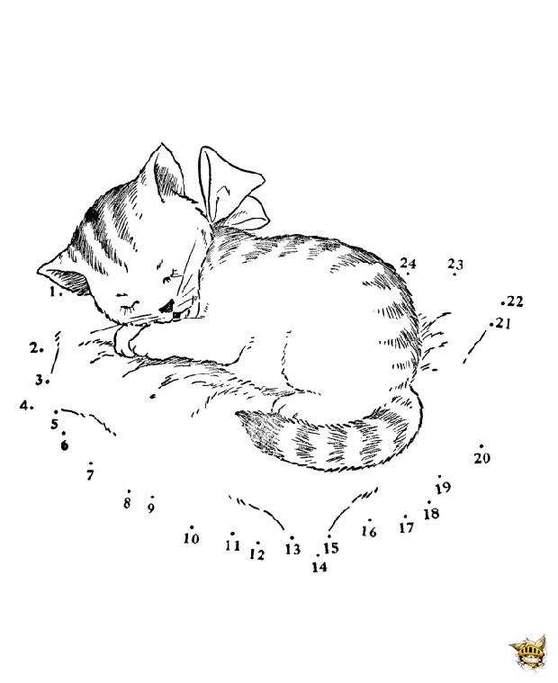 Le Chat Qui Dort Est Un Points à Relier à Imprimer