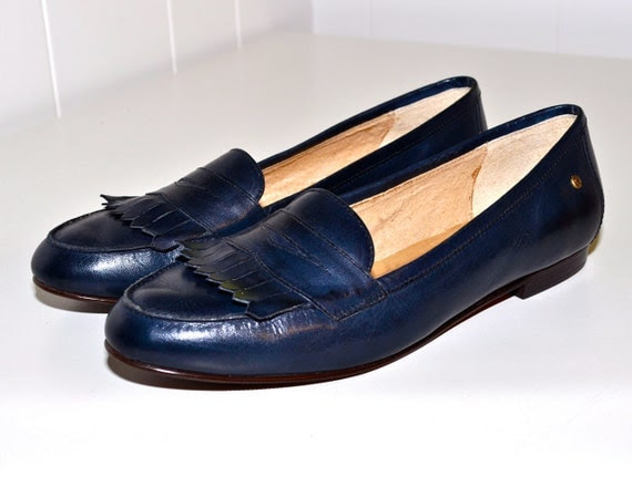 ETIENNE AIGNER Navy Blue Penny Loafers 1980s Leisure by ...