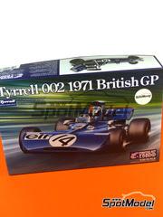 Ebbro: Maqueta de coche escala 1/20 - Tyrrell Ford 002 ELF Nº 2, 3, 12, 14 - Jackie Stewart, Francoise Cevert - Gran Premio de Holanda, Gran Premio de Inglaterra 1971 - maqueta de plástico