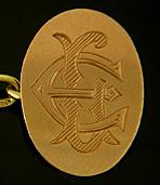 British 'JE' monogram cufflinks. (J7397)