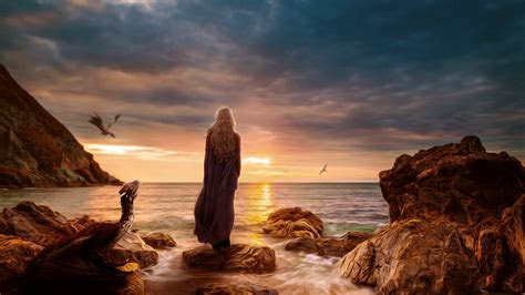 full hd wallpaper  daenerys targaryen coast art