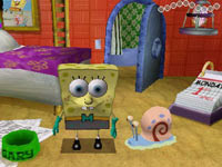 SpongeBob at home with Gary in Spongebob Squarepants The Yellow Avenger