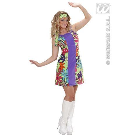 Flower Power Hippie Go Go Girl Costume for 1970 s Fancy