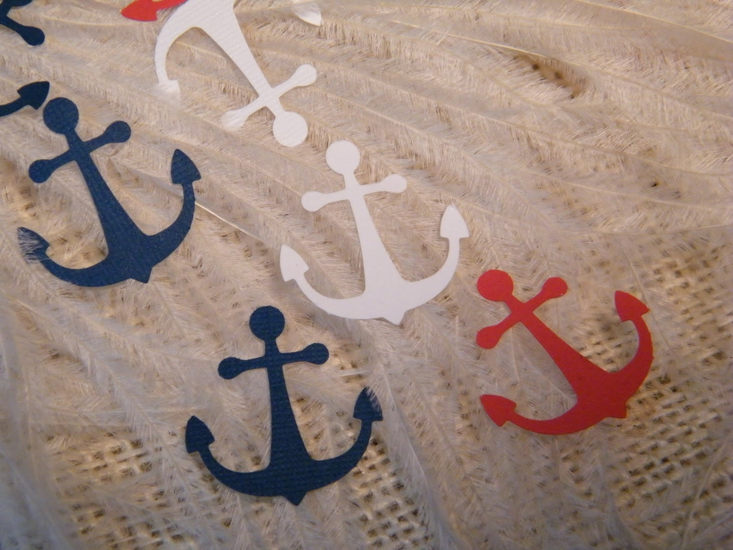 Party Decoration - Lot of 200 Anchor Confetti - Red -White- Blue / Navy - 4th of July - Patriotic - Boys Birthday Party - Nautical Confetti