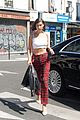 bella hadid is pretty in plaid while out in paris 01
