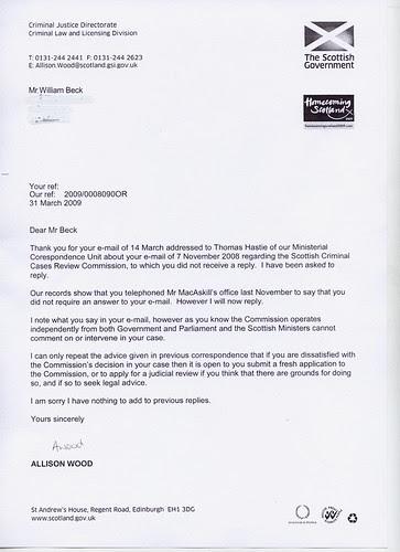 Allison Wood Re, Thomas Hastie Letter