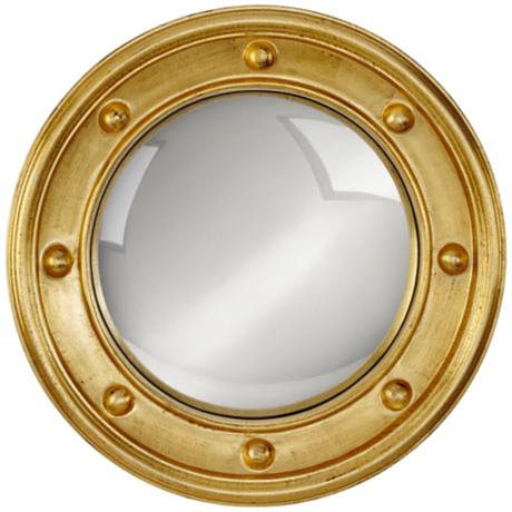 """Ortley Gold Porthole 24 1/2"""" Round Convex Wall Mirror"""