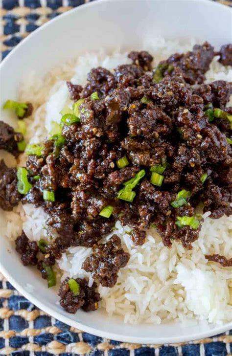 korean ground beef dinner  dessert