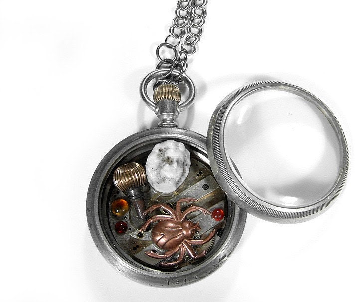 Steampunk Necklace -- Vintage FROZEN CHARLOTTES WEB Silver Pocket Watch SHADOWBOX Pendant Necklace with BISQUE DOLL PARTS Garnets and Copper Spider and 18k GOLD CROWN - From the Creator of Pocket Watch Necklaces... edmdesigns