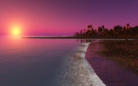 Digital Coastal Beach Sunset