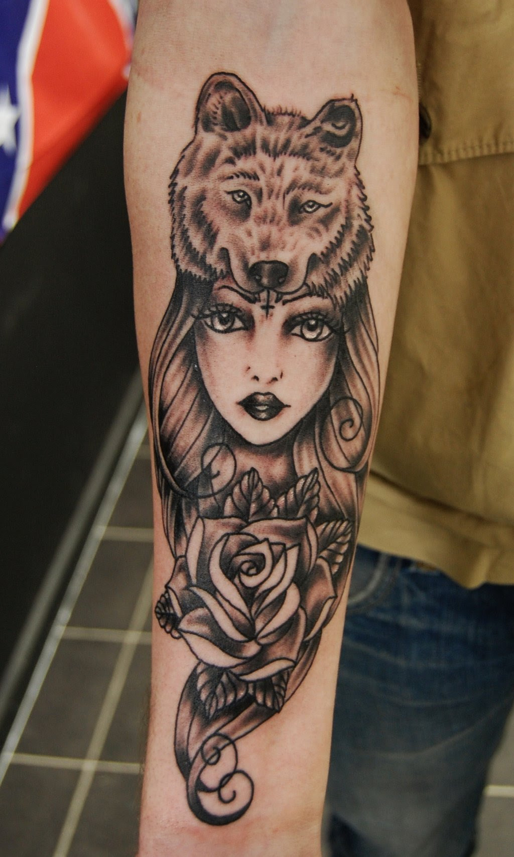 Grey Ink Rose Flower And Wolf Head Girl Tattoo