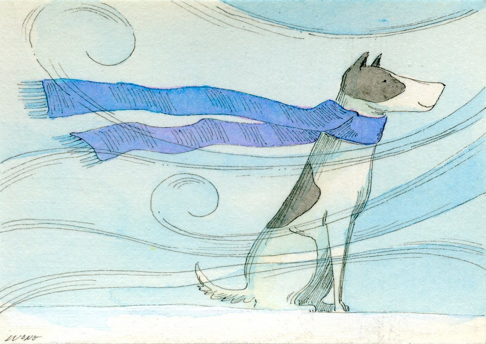 Original ACEO Painting -- Scarf on a windy day