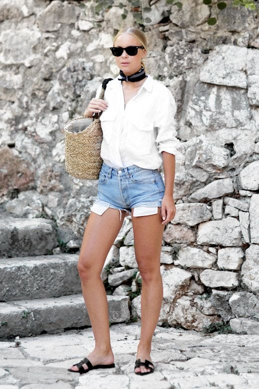 Le Fashion Blog Casual Summer Style Sunglasses Neck Scarf White Button Down Shirt Basket Bag Denim Cut Off Shorts Flat Hermes Sandals Via Victoria Tornegren