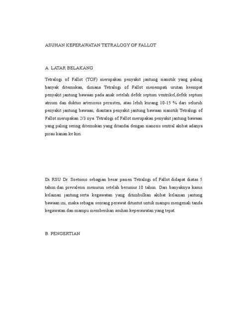 Asuhan Keperawatan Tetralogy of Fallot