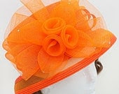 Kentucky Derby hat, Derby hat, Orange Dressy Flower Dressy Hat, Church Hat, Kentucky Derby Hat Del Mar Races, Wedding