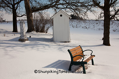 Outhouse and Bench at Hauge Log Church, Dane County, Wisconsin