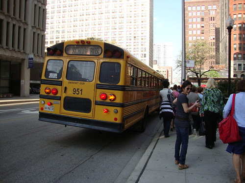 on the way to the yellow school bus to go shopping!