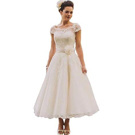 Chady Vintage Tea length Lace Wedding Dresses Plus Size