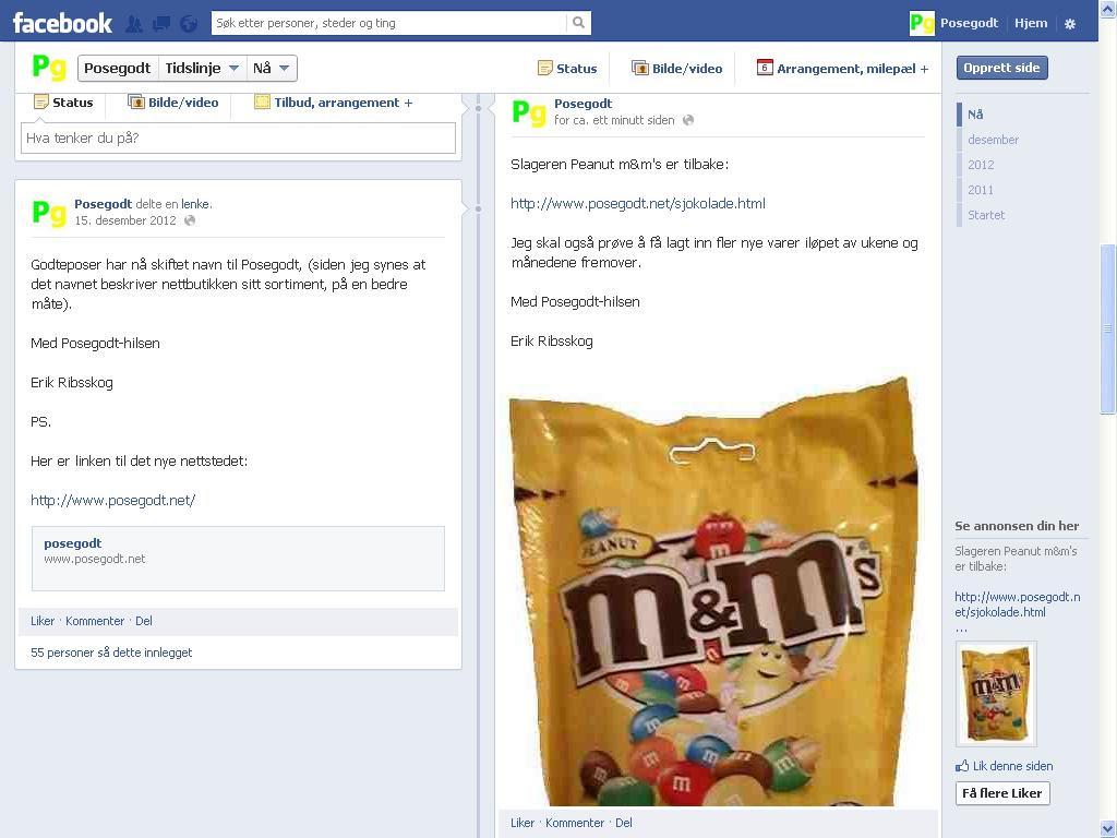 oppdaterte på facebook om peanut m&m s
