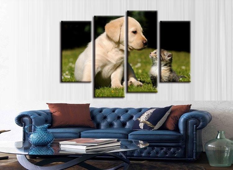 Satın Al 4 Parça Tuval Boyama Kedi Ve Köpek Hayvan Filiz Pet Oturma