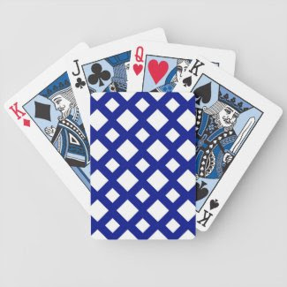 White Diamonds on Navy Playing Cards