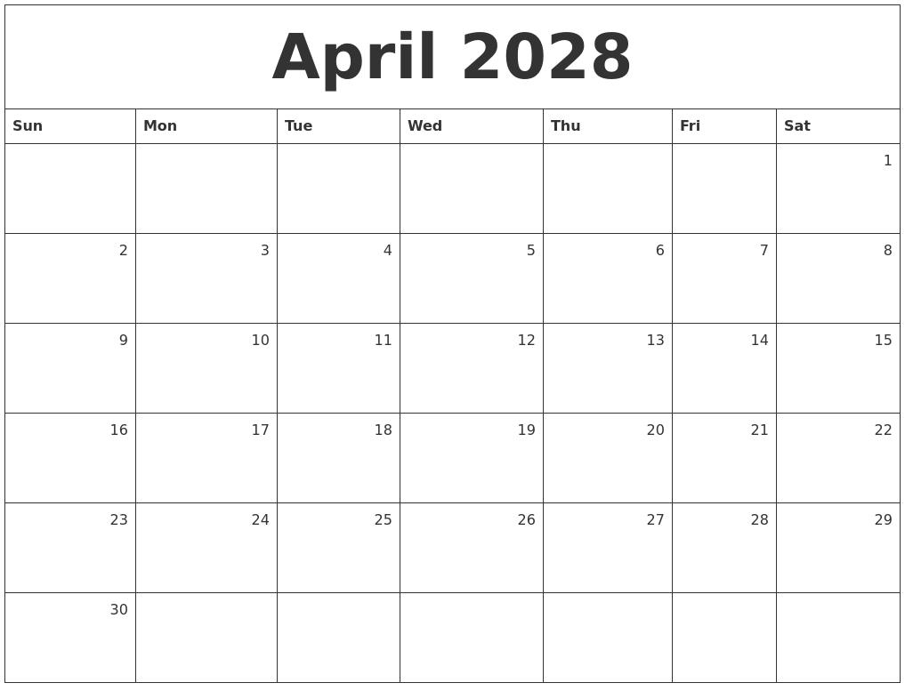 april 2028 monthly calendar