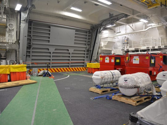 A two-section hangar door is a new feature of the Zumwalt's