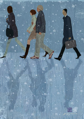 イラスト 雪の日の通行人 Jtajikawa田地川じゅん Illust Blog