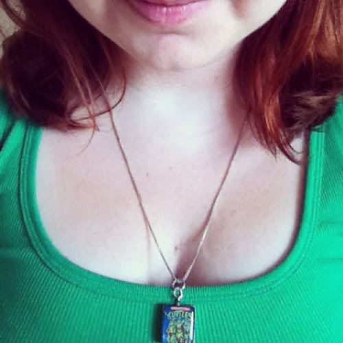 Turtle power today!! TMNT necklace + turtle green tank. #tmnt