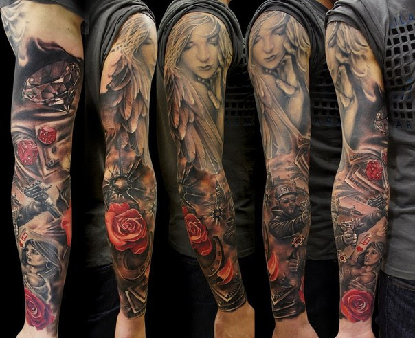 Biker Angel Girl Tattoo Sleeve By Andrey Barkov Best Tattoo Ideas