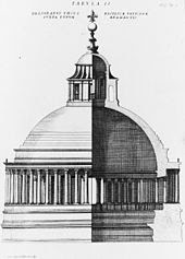 Engraved image in two parts. The left side shows the exterior of the dome, and the right side shows a cross section. The dome is constructed of a single shell, surrounded at its base by a continuous colonnade and surmounted by a temple-like lantern with a ball and cross on top.