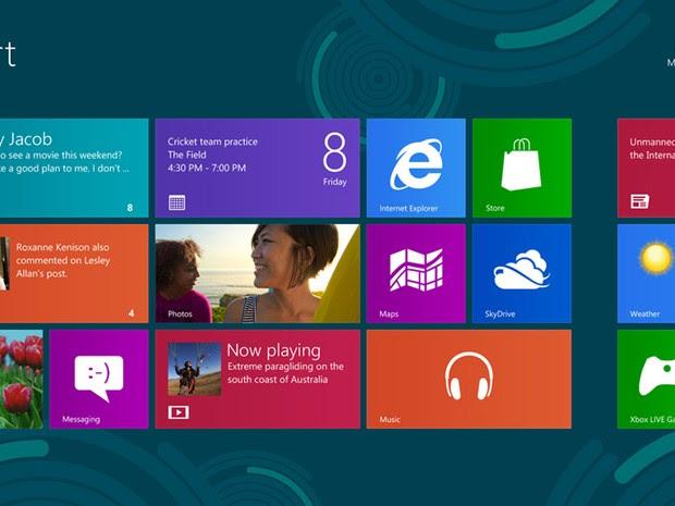 Microsoft mudou totalmente o visual do Windows 8, apresentando seus aplicativos em blocos na tela principal (Foto: Divulgação)