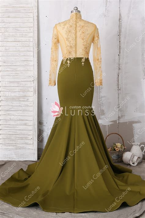 Illusion Two Tone Long Sleeve Lace Mermaid Prom Dress with